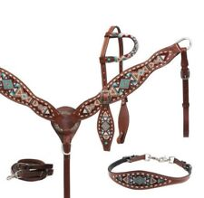 Showman MEDIUM OIL Navajo Beaded Headstall, Breast Collar & Wither Strap Set!