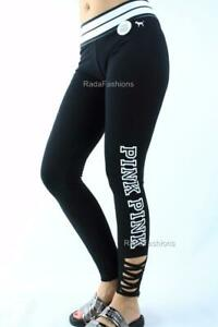 Victoria's Secret PINK Strappy Cotton Yoga Legging Logo Striped Flat Waist NWT