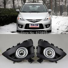 2x LED Daytime Running Fog Lights Lamp DRL For Mazda 5 2008 - 2010 + Angel Eyes