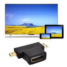 3 en 1 HDMI 1.4 V Hembra a Mini Micro Macho Convertidor Adaptador Chapado en Oro Forma T