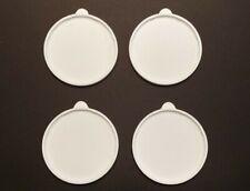 CRAFT STORAGE - 4 NEW Yoplait Oui white lids fits yogurt jars