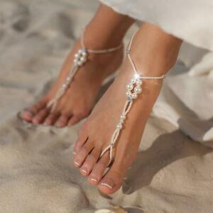 Boho Style Barefoot Sandals Pearl Beads Shiny Ankle Chain Anklet Feet Jewelry