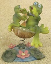 """VINTAGE COLLECTIBLES--FROGS EATING WATERMELON--4"""" TALL--VERY NICE--GREAT PATINA"""