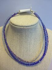 "14"" Multi Strand Seed Beaded Choker Fashion Necklace-Blues & Purple"