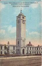 Postcard Peru Lima Plaza de la Universidad Reloj por la Colonia Alemana Clock