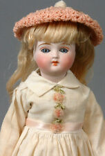 "Closed-Mouth Belton 9"" Blue-Eyed Girl Antique Doll w/ Rare Original Molded Boots"