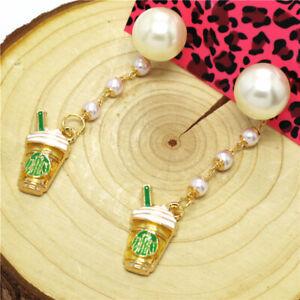 Hot Yellow Enamel Starbucks Coffee Cup Pearl Betsey Johnson Women Stand Earrings