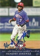 2011 Auburn Doubledays HENDRY JIMENEZ Signed Card autograph NATIONALS