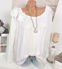 Túnica Blusa crochet Vintage Flores Extra Grande Floral hippie camiseta blanca