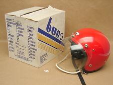 Vtg NOS NIB 1977 Buco Open Face Red Motorcycle Helmet w/ Face Shield Childs MED