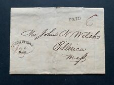 c1830s CHARLESTOWN MA STAMPLESS LETTER MILITARY+CHOLERA EPIDEMIC BILLERICA WELCH