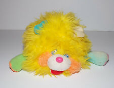 Vintage Mini Popples Plush 8in Puffling Stuffed Animal 1986 Mattel Yellow Pink