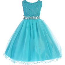 Flower Girl Dress Sequin Top Girl's Special Occasion Dresses Princess Formal