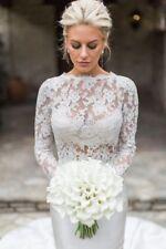 Elegant Wedding Dresses Lace Long Sleeve Boat Neck Mermaid Custom Size 4 6 8 10+