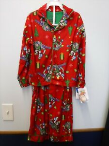 BOYS SIZE 8 DISNEY TOY STORY RED CHRISTMAS FLANNEL 2 PC PJS PAJAMAS NEW #19488