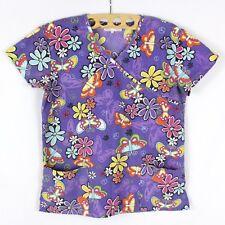 Avida Women's Scrubs Size S Floral Print Top Cotton Work Shirt Made in USA