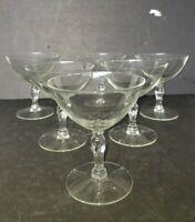 6 Vintage Champagne Coupe Glasses Martini Knob Stem Cocktail Stemware Barware