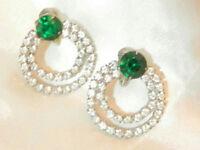 Vintage 40's Art Deco Prong Set Green Ice Rhinstone Eternity Clip Earrings 27j8