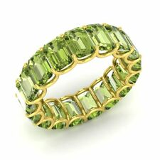 Certified 9.54 Ctw Emerald Cut Peridot 18k Yellow Gold Full Eternity Band Ring