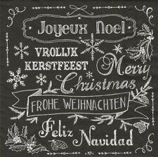 Lot de 2 Serviettes en papier Texte Noël Decoupage Collage Decopatch