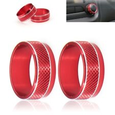 2x Red Audio Switch Knob Ring Cover Trim Frame Fit For Jeep Renegade 2015-2016