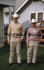 KODACHROME Red Border Slide Handsome Cowboys Hats Old Woody Car Fashion 1958!!!
