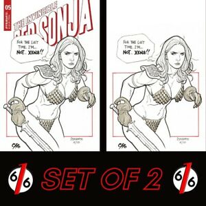 🚨🔥🗡 INVINCIBLE RED SONJA #5 FRANK CHO Cover D & 1:21 Virgin Ratio Variant NM