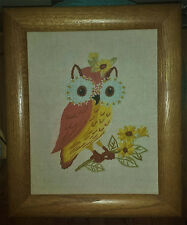 So Cute!  Vintage Crewel Owl Picture With Wooden Frame.  Hand Crafted.