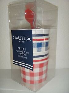 NAUTICA Home 8-PC SET 4 Ice Cream Bowls &  4 Spoons Red Blue White Melamine +BOX