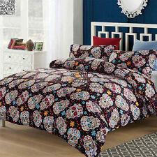SKULL Floral Duvet/Doona/Quilt Cover Set Line Queen/King/Super King Size Bed New