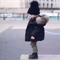 Boys Fur Hooded Coat Kids Black Red Thick Warm Winter Cotton Padded Parka Jacket