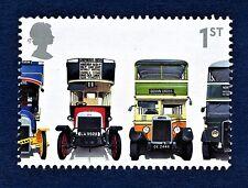 Leyland X2, London General B Type, Leyland Titan TD1 & AEC Regent 1 on a stamp