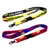 2 Colombia Reversible Neck Strap Lanyard Detachable Keychain for ID Keys Badge