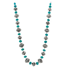 """Silver-Tone 36"""" Necklace Qvc Rondel-Shaped Simulated Turquoise Beads Oxidized"""