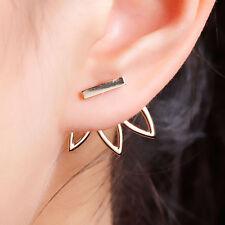 Sexy Sparkles Lotus Flower Ear Jacket Stud Earrings Back Ear Cuffs Stud Earring