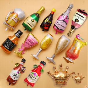 Beer Mug Whiskey Cocktail Champagne Drink Glass Bottle Happy Birthday Balloon UK