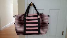 "Victoria's Secret Getaway Duffel Bag Carry On Black Pink Stripe 20""x15""x8"""