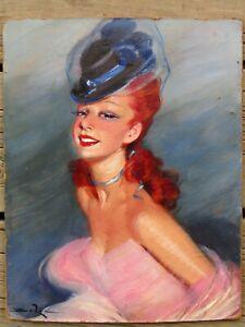 Illegibly Signed Impressionist Portrait of a Dancer Old Oil Painting NO RESERVE