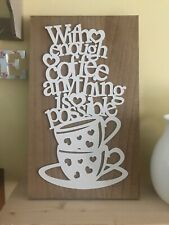 Coffee Wooden Rustic Country Sign Cottage Farmhouse