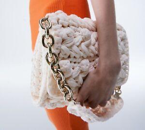 ZARA NEW WOMAN WOVEN FABRIC CROSSBODY BAG ECRU one size: M 6403/710