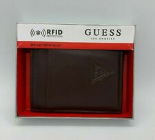 Men's Leather RFID Wallet With Valet GUESS Los Angeles Small Brown 31G0160013
