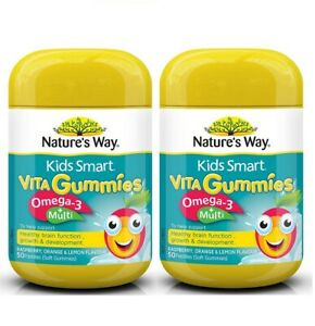 Nature's Way-Kids Smart Vita Gummies Omega 3+ Multi 50 Pastilles x2 TWIN PACK...
