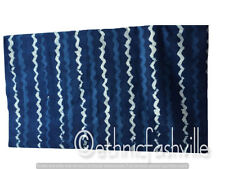 Indian Hand Block Print Fabric 3 Yard Blue Striped Sewing Material Craft Decor