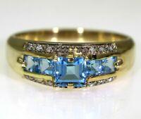 Pretty Princess Topaz & Diamond 9ct Yellow Gold Band ring T ~ 9 3/4