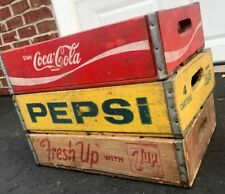3 Vintage Wood Soda Pop Crates Coke Pepsi Fresh Up 7up  Lot