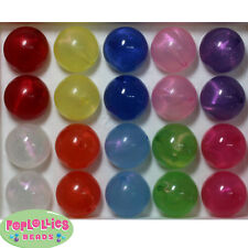 20mm Frosted Glitter Acrylic Bubblegum Beads 20 pc mix, multi color