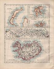 1914 CARTA ~ Islanda ~ Kaiser Wilhelm canale di Kiel, Franz Joseph i terreni ~ SPITZBERGEN