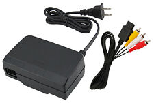AC Adapter Power Supply & Audio Video A/V Cable for Nintendo 64 N64 Combo!