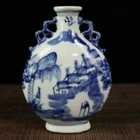Chinese Exquisite Handmade Blue and white porcelain painting scene Vases