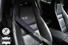 2X PURPLE DIAMOND STITCH BLACK LEATHER LUXURY SHOULDER SEAT BELT PADDED PADS